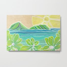 Naupakas in Paradise Surf Art by Lauren Tannehill Metal Print