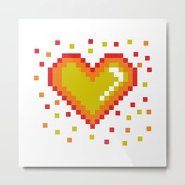 Pixel Heart Pattern #society6 #decor #buyart #artprint Metal Print