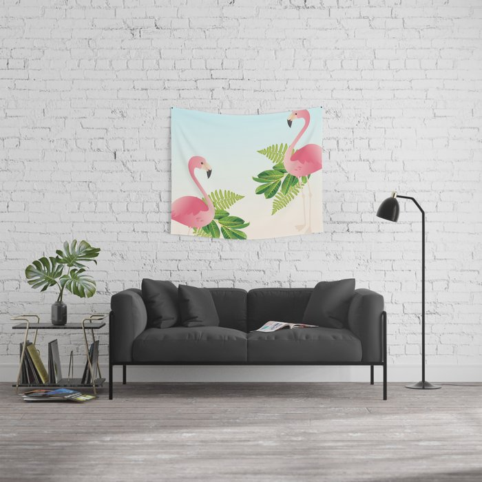 Tropical Flamingos Wall Tapestry