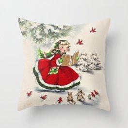 Vintage Christmas Girl Throw Pillow