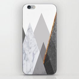 Marble Gray Copper Black and White Mountains iPhone Skin