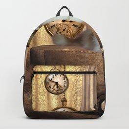 Steampunk, beautiful cat with steampunk hat Backpack