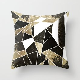 Modern Rustic Black White and Faux Gold Geometric Throw Pillow