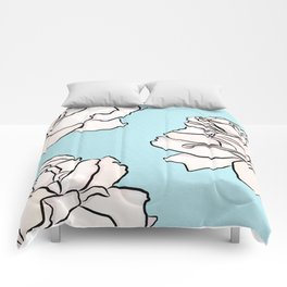 Powdered Blue Roses Comforters