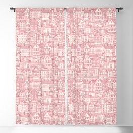 cafe buildings pink Blackout Curtain