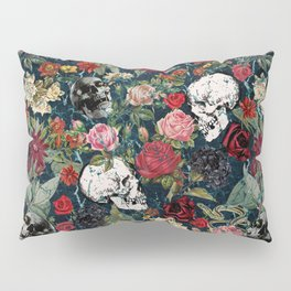 Distressed Floral with Skulls Pattern Pillow Sham