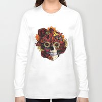 ohm Long Sleeve T-shirts featuring Full circle...Floral ohm skull by Kristy Patterson Design