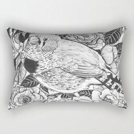 Zebra finch and rose bush ink drawing Rectangular Pillow