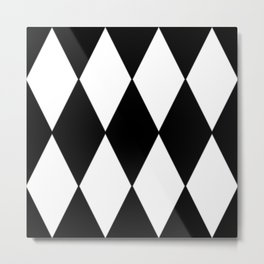 LARGE BLACK AND WHITE HARLEQUIN DIAMOND PATTERN Metal Print