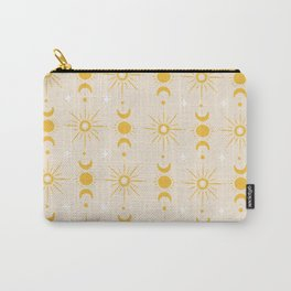 Yellow Sun & Moon Pattern Carry-All Pouch