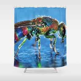 Multi-colored Cuckoo Wasp Portrait #4 Shower Curtain