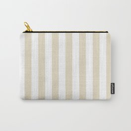 Narrow Vertical Stripes - White and Pearl Brown Carry-All Pouch