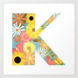 The Letter K with Flowers - Folk Art Textured Art Print
