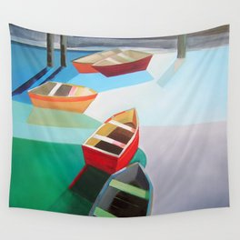 Five Boats Wall Tapestry