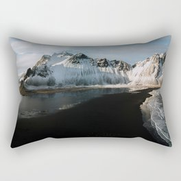 Aerial of a black beach at the ocean with Mountain in south Iceland during sunset - Landscape Photog Rectangular Pillow