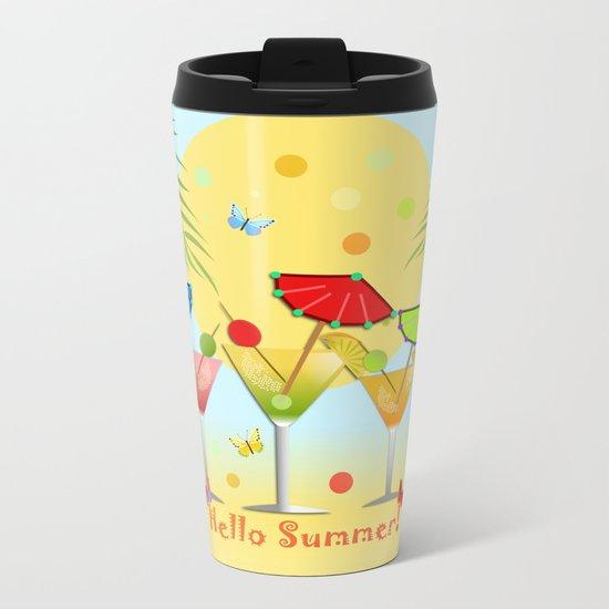 Hello Summer, vector illustration with text Metal Travel Mug