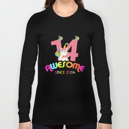 Awesome Since 2004 Unicorn 14th Birthdays Anniversaries Long Sleeve T-shirt