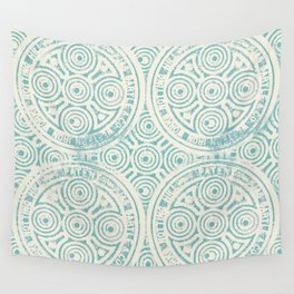 notting hill: aqua with cream Wall Tapestry