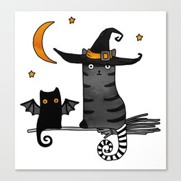 2 cats – Bat and Wizard on a broomstick for Halloween Canvas Print