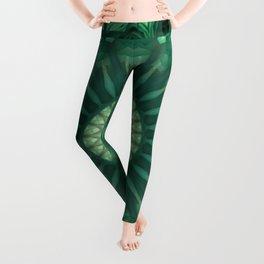 Dark and light green mandala Leggings