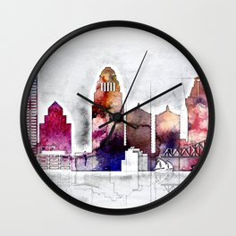 Louisville skyline, Kentucky Wall Clock