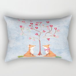 Fox love- foxes animal nature _ Watercolor illustration Rectangular Pillow