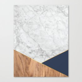 White Marble - Wood & Navy #599 Canvas Print