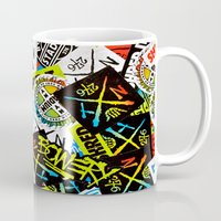 sticker Mugs featuring Sticker Collage by Chris Klemens