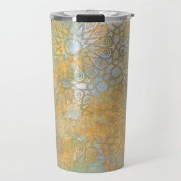 gold arabesque vintage geometric pattern Travel Mug
