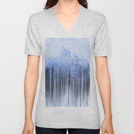 Shredded Abstract in Blue Unisex V-Neck