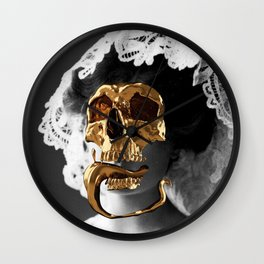 Golden Skull Wall Clock