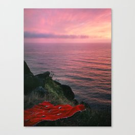 Ocean.Sunset.Sea Cliff.Red Blanket.Pink Sky.Oregon.Coast.Waves.Water Canvas Print