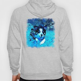border collie jumping in water vector art crisp winter Hoody