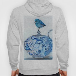 Blue Bird on Teapot Hoody