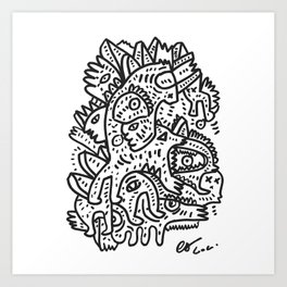 Black and White Inca Graffiti Street Art by Emmanuel Signorino Art Print