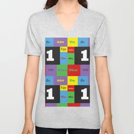 Number One Colorful Many Languages Unisex V-Neck