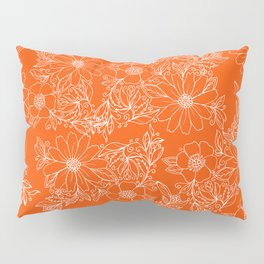 Hand drawn white bright orange modern floral Pillow Sham