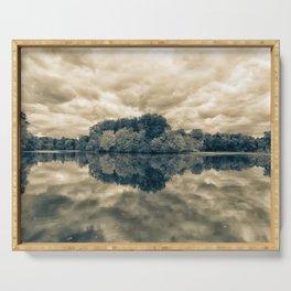 Autumn Reflections Split Toned Monochromatic Rural Landscape Photograph Serving Tray