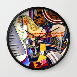 Joan Miro Horse, Pipe and Red Flower Wall Clock