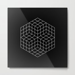 Vasarely cubes Metal Print