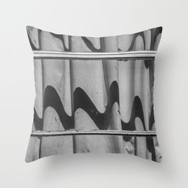 Motel Room Window in Black and White Throw Pillow