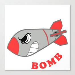 """A Bombing Tee For Bombers Saying """"Drop The Bomb"""" T-shirt Design With Illustration Of A Mad Bomb Canvas Print"""