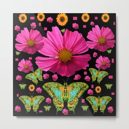 FUCHSIA PINK COSMO FLORALS GREEN MOTHS Metal Print