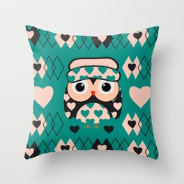 Owl and heart pattern Throw Pillow