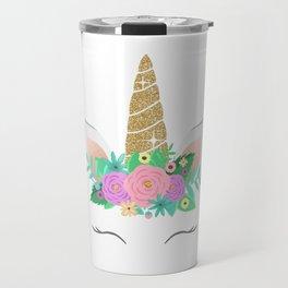 Golden Unicorn with Flowers Travel Mug