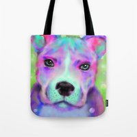 pitbull Tote Bags featuring Funky Pitbull by Sally Rowland Art
