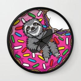 Sloth Skate Donut Wall Clock