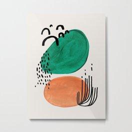 'Silky' Minimalist Mid Century Modern Funky Fun Colorful Shapes Patterns Emerald Green Tan by Ejaaz Haniff Metal Print
