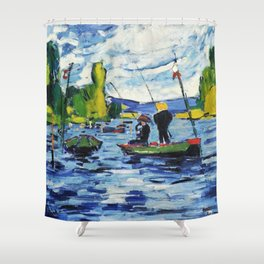 Fishing in the lake Shower Curtain