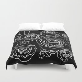 Feminine and Romantic Rose Pattern Line Work Illustration on Black Duvet Cover